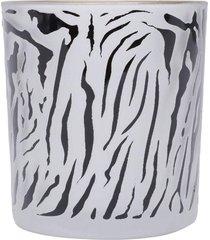 castiçal  vidro animal printing zebra  branco
