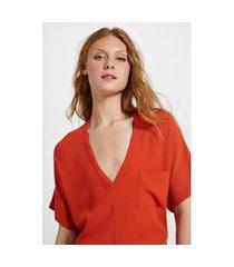 t - shirt de crepe v bolsinho laranja pierre - pp