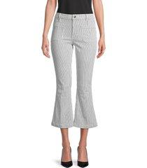 frame women's bardot crop flare jeans - white - size 31 (10)