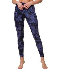 onzie women's high waisted yoga leggings - amethyst tie dye x-small spandex