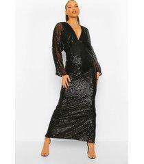 tall maxi jurk met pailletten en vleermuismouwen, black