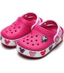 babuche crocs infantil crocband mickey led rosa