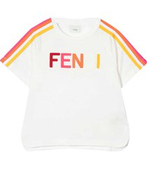 fendi white t-shirt with multicolor applications