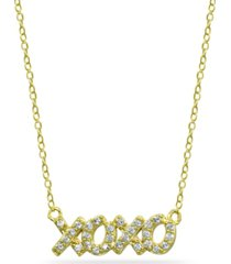 """cubic zirconia """"xoxo"""" nameplate necklace in 18k gold plated sterling silver"""