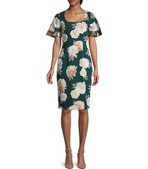 sachin & babi women's abigail floral sheath dress - floral green - size 2