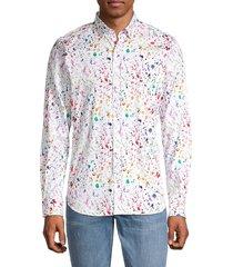 robert graham men's rossington tailored-fit splatter-print sport shirt - white multicolor - size xl