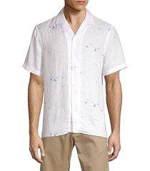 saks fifth avenue men's sail-print linen shirt - persian white - size s