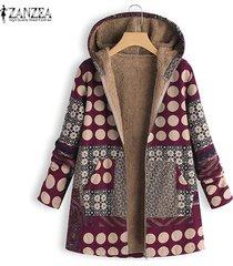 zanzea mujeres lunares informal mullido grueso abrigo de la impresión floral capa de la chaqueta de la vendimia -rojo