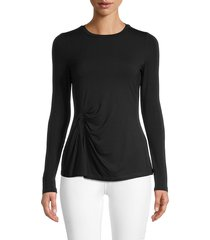 donna karan new york women's crewneck cotton-blend top - black - size xs
