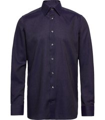 blue herringb flannel shirt overhemd business blauw eton