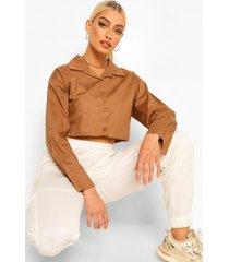 ingekort wit overhemd, camel