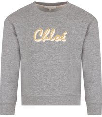 chloé grey sweatshirt with colorful logo for girl