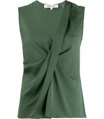 dvf diane von furstenberg twisted-front sleeveless crepe top - green
