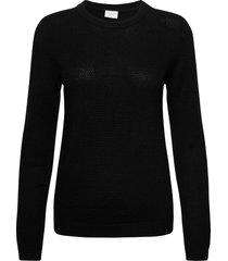 vichassa l/s knit top-noos stickad tröja svart vila