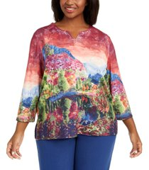 alfred dunner plus size autumn harvest scenic printed top