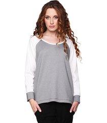 bluza prosta szaro-biała