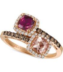 le vian multi-gemstone (1 ct. t.w.) & diamond (3/8 ct. t.w.) ring in 14k rose gold