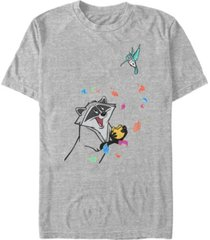 disney men's pocahontas meeko flit colorful leafs fall, short sleeve t-shirt
