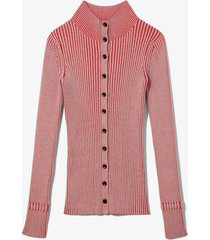 proenza schouler white label midweight rib knit cardigan lavender/red m