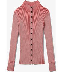 proenza schouler white label midweight rib knit cardigan lavender/red s