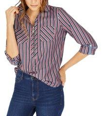 tommy hilfiger multi-stripe zip-neck cotton top