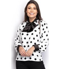 camisa camisete feminina seda poá manga longa laço casual - feminino