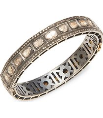 classy 18k yellow gold & black rhodium plated diamond bangle bracelet