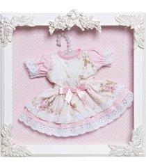 quadro com acrílico bonequinha vestido no cabide potinho de mel rosa - kanui