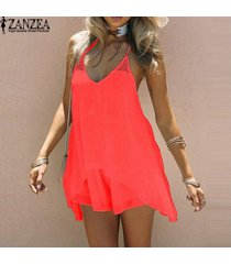 vestido de verano 2017 zanzea mujeres crochet backless beach party mini vestido sundress sexy hollow out long tops blusas (rojo) -negro