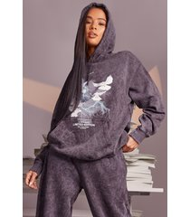 acid wash dove lightening oversized hoodie, charcoal