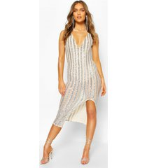 occasion sequin stripe midaxi dress, silver