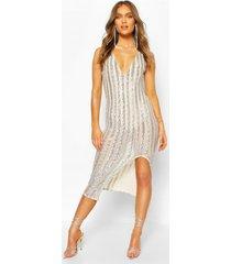 gelegenheids midaxi jurk met pailetten, zilver