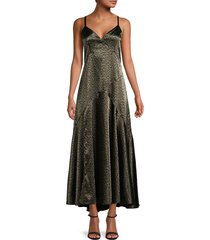 avec les filles women's printed slip dress - olive abstract - size xs