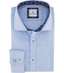 blue industry overhemd blauw linnen mix
