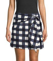 silk blend gingham mini skirt