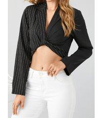 camicetta sexy a maniche lunghe con risvolto annodato a righe patchwork per donna