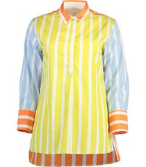 nattie colorblock poplin striped shirt