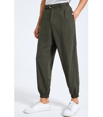 hebilla de moda para hombre diseño gurkha de cintura alta con cremallera frontal pantalones