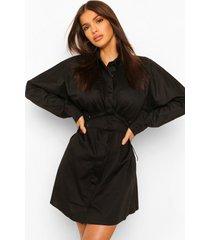 blouse jurk met volle mouwen en corset detail, zwart