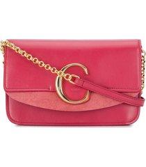 chloé c ring crossbody bag - pink