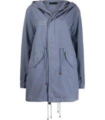 mr & mrs italy drawstring detail hooded parka coat - blue