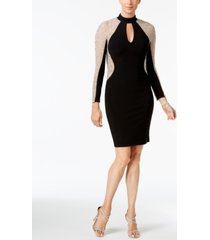 xscape petite beaded colorblocked sheath dress