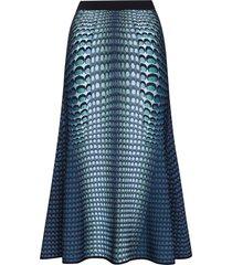 marine serre moonfish intarsia-knit midi skirt - blue