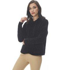 sweater hoodie chenille negro corona