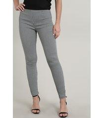 calça legging feminina básica em jacquard estampada geométrica preta