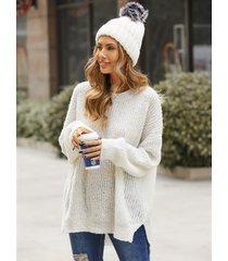 suéter con dobladillo con abertura y cuello redondo yoins