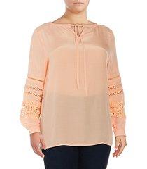 plus lace-trimmed peasant blouse