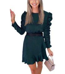 ax paris women's ruched sleeve skater dress