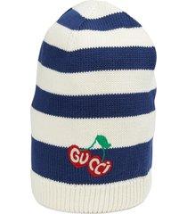 women's gucci jonson cherry embroidered stripe cotton beanie -