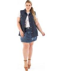 colete jeans confidencial oversized plus size feminino